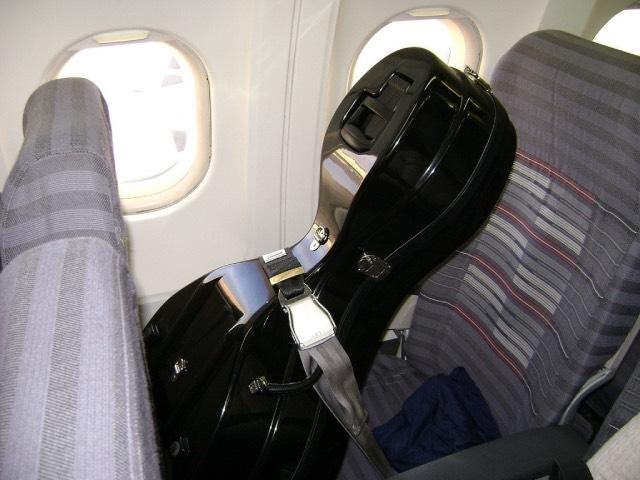 Багаж в кресле самолета